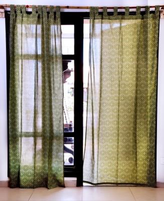Ocean Homestore Cotton Green Printed Eyelet Window Curtain