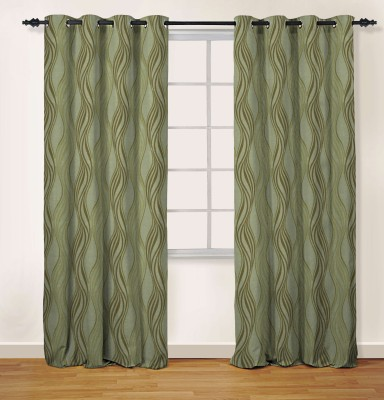 Oro Decor Polyester Cocoa Brown Abstract Eyelet Long Door Curtain