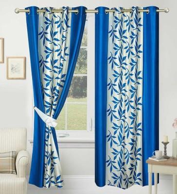 Panipat Textile Hub Polyester Blue Floral Eyelet Door Curtain