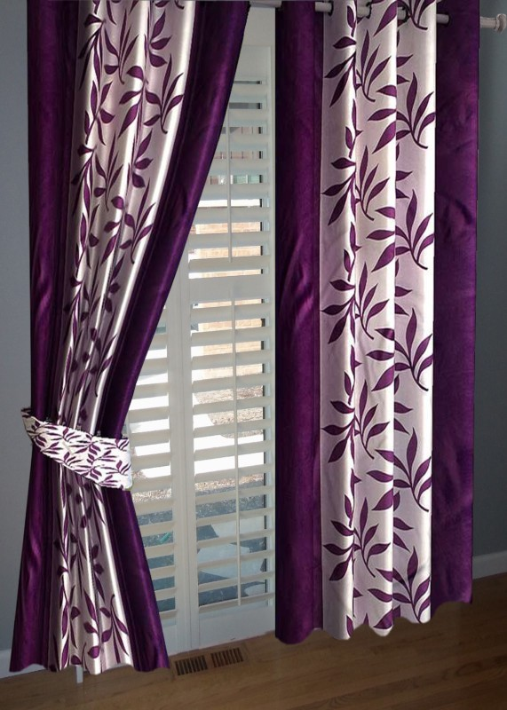 BNA Decor Polyester Purple Floral Eyelet Window Curtain(153 cm in Height, Pack of 2)