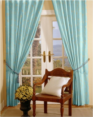 Dreamscape Blends Blue Printed Eyelet Door Curtain