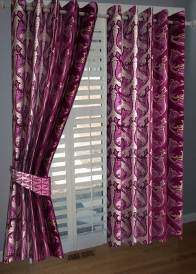 KANHA Polyester Multicolor Abstract Eyelet Door Curtain