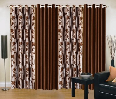 New Trends Polyester Brown Printed Eyelet Door Curtain