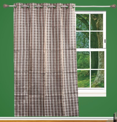 Edit One Polyester Brown Striped Rod pocket Window & Door Curtain