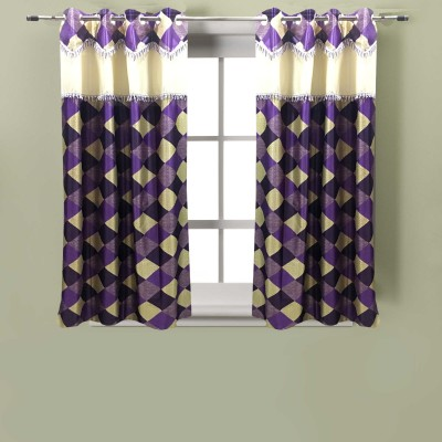 Homefab India Polyester Purple Solid Eyelet Window Curtain