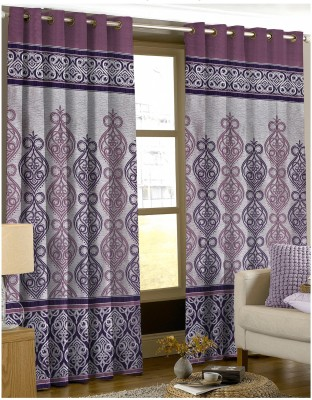 Comfy Polyester Purple Damask Eyelet Door Curtain