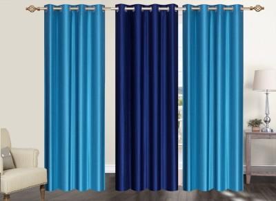 Furnishing Zone Polyester Blue Plain Eyelet Long Door Curtain
