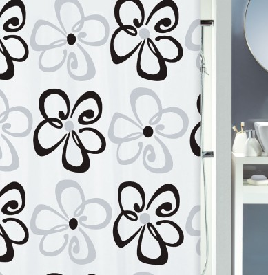 Spread Polyester Black Printed Eyelet Shower Curtain