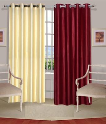 Fogg Polyester Maroon, Beige Solid Tab Top Door Curtain