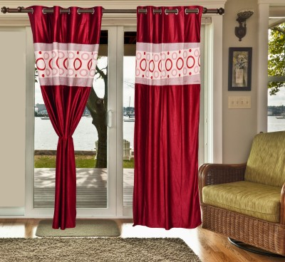 sachidanand solutions Polyester Red Printed Eyelet Window & Door Curtain