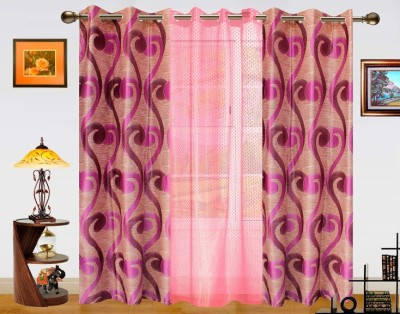 Dekor World Polyester Pink Abstract Eyelet Long Door Curtain