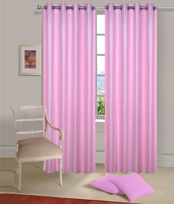 PHF Polyester baby pink Plain Eyelet Door Curtain