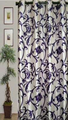 JBG Home Store Polyester Blue Self Design Eyelet Door Curtain