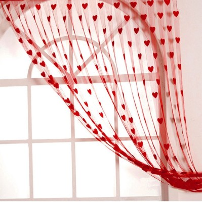 Ech Oly Net Red Embroidered Ring Rod Window Curtain