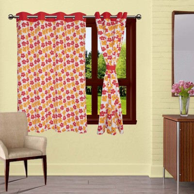 Lushomes Cotton Multicolor Printed Eyelet Window Curtain