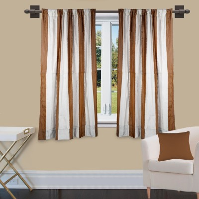 Marmitte Polyester Brown Striped Rod pocket Window Curtain