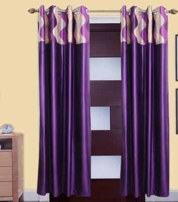 DreamsHomes Polyester Multicolor Floral Eyelet Door Curtain