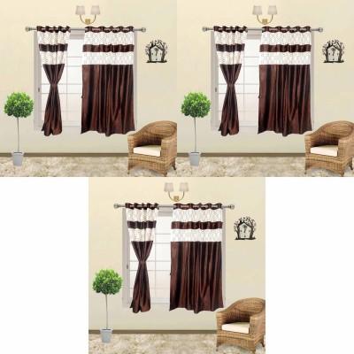Go Decore Viscose Brown Self Design Ring Rod Window Curtain