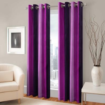 BSB Trendz Polyester Purple Printed Eyelet Window Curtain
