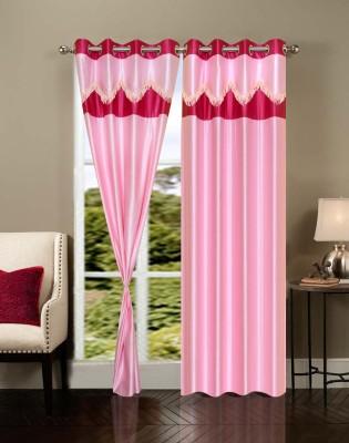 Homesazz Polyester Pink Self Design Eyelet Door Curtain