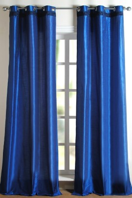 Deco Window Polyester Blue Solid Eyelet Window Curtain