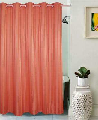Lushomes Polyester Coral Haze Plain Eyelet Shower Curtain(208 cm in Height, Single Curtain)