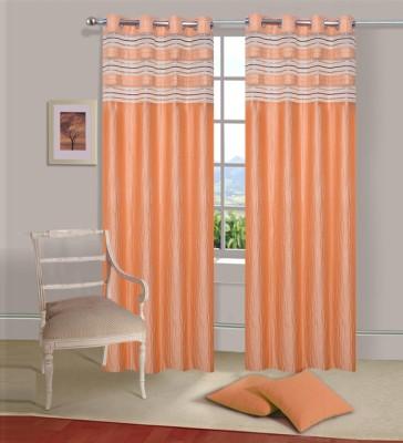Excel Bazaar Polycotton Golden Plain Eyelet Door Curtain
