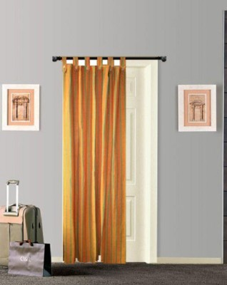 Tidy Cotton Orange, Green Striped Tab Top Door Curtain