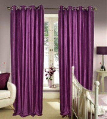 Chaitnya Handloom Polyester Purple Plain Eyelet Door Curtain