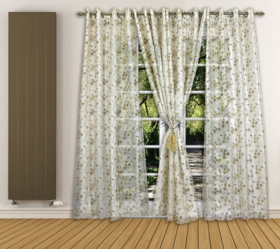 Ariana Tissue Gold Floral Curtain Window Curtain
