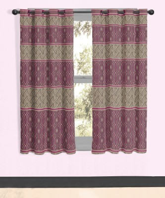 Vivace Homes Jacquard, Polyester Pink Geometric Eyelet Window Curtain