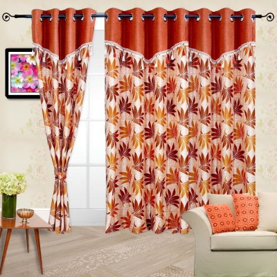 Cortina Polyester Orange Abstract Eyelet Window Curtain
