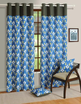 House This Cotton Blue, Black Motif Eyelet Door Curtain