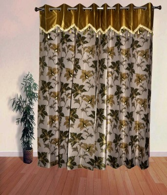 PHM Polyester Green Floral Eyelet Long Door Curtain