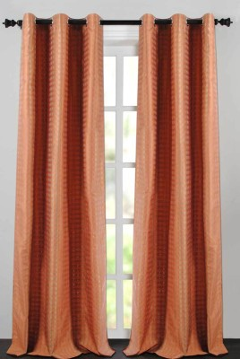 Deco Essential Polyester Light Terracotta Plain Eyelet Window Curtain