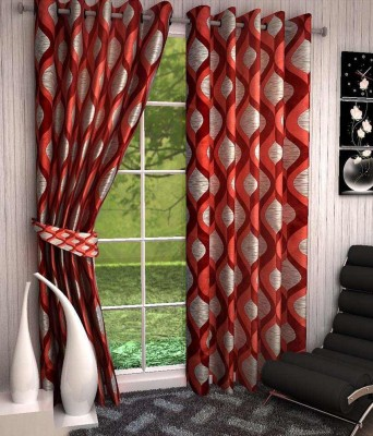 Divine Polyester Red Abstract Eyelet Window & Door Curtain
