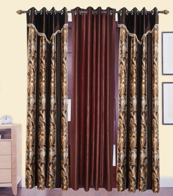AJ Interio Polyester Multicolor Self Design Eyelet Door Curtain