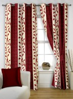 Story@Home Polyester Maroon Printed Eyelet Window Curtain(152 cm in Height, Pack of 2)