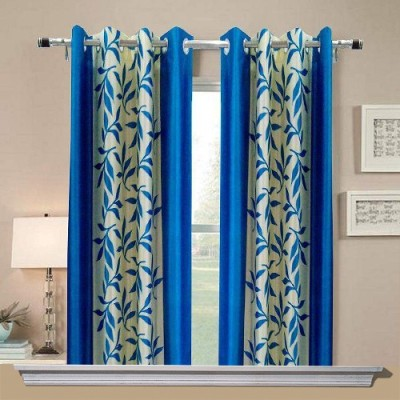 Chaitnya Handloom Polyester Blue Floral Eyelet Window Curtain