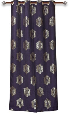 Mahamantra Polyester Purple Floral Eyelet Door Curtain