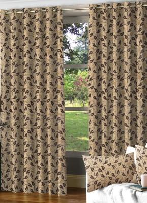 NuHome Decor Polyester Brown Self Design Eyelet Door Curtain