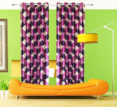 Home Fashion Gallery Polyester Multicolor Abstract Eyelet Door Curtain
