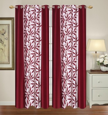 Yellow Weaves Polyester Red Floral Curtain Door Curtain