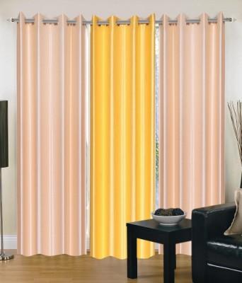 Hargunz Polycotton Beige, Yellow Self Design Eyelet Window Curtain