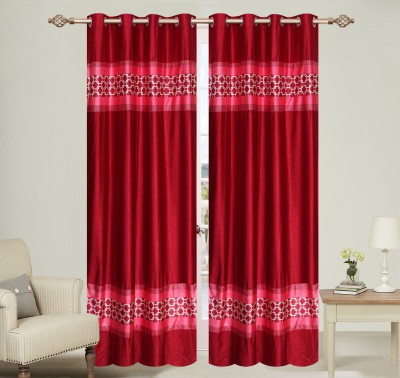 Daddy Homes Polyester Red Plain Eyelet Door Curtain