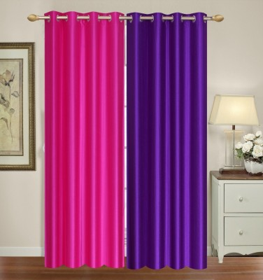 Furnishing Zone Polyester Pink, Purple Plain Eyelet Long Door Curtain