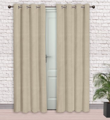 Story @ Home Jacquard Beige Printed Eyelet Door Curtain