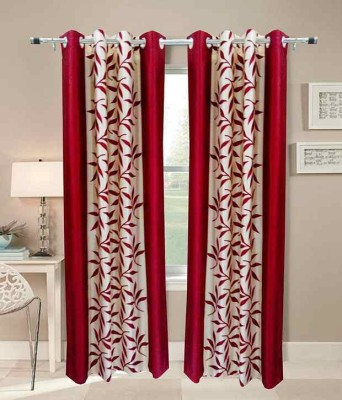 RS Quality Polyester Maroon Floral Eyelet Window & Door Curtain