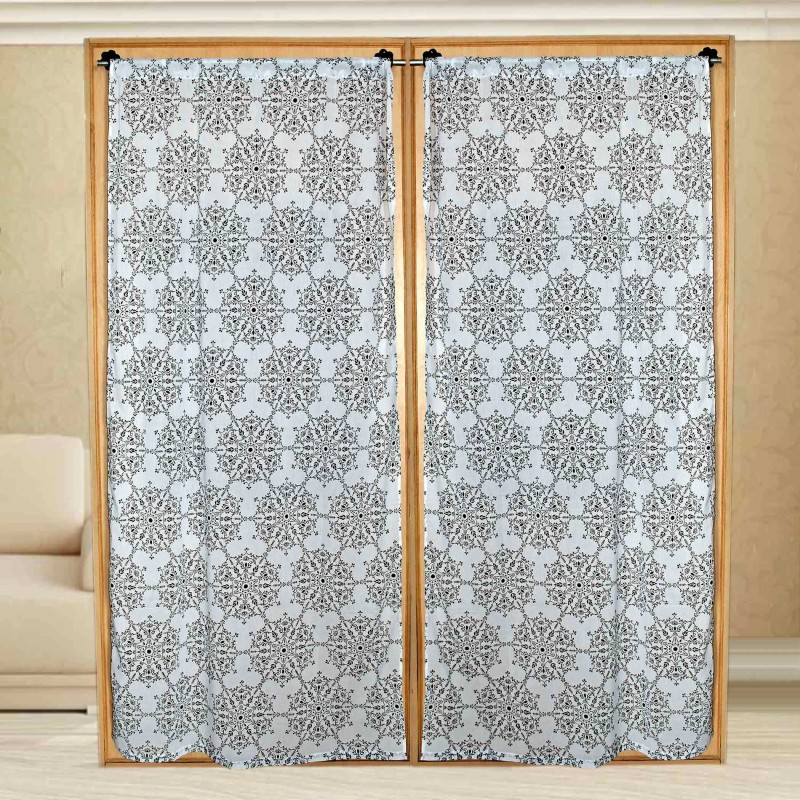 Sriam Cotton Black&white Printed Curtain Window Curtain(215 cm in Height, Pack of 2)
