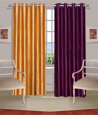 Fogg Polyester Yellow, Purple Solid Tab Top Door Curtain